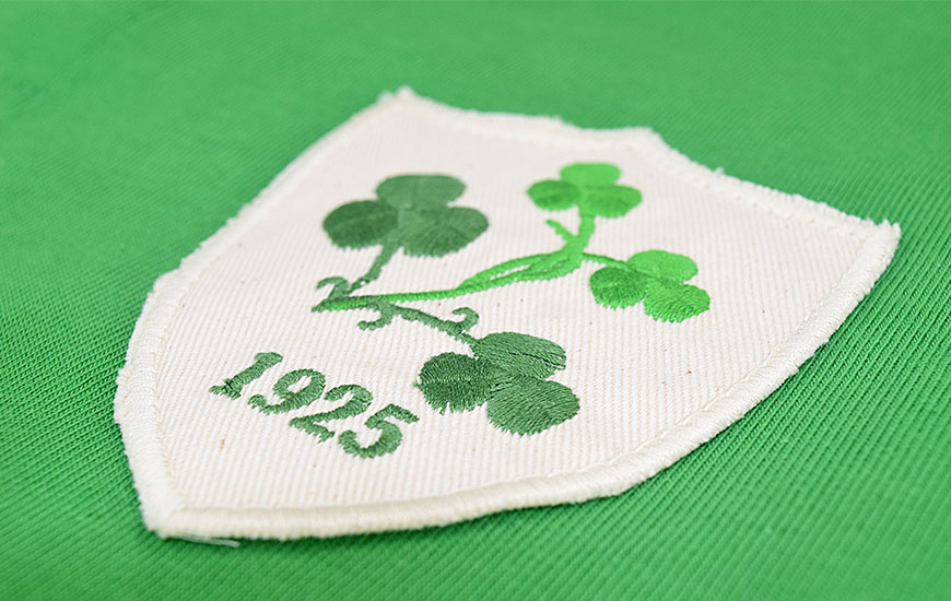 Close up of Ireland Clovers badge